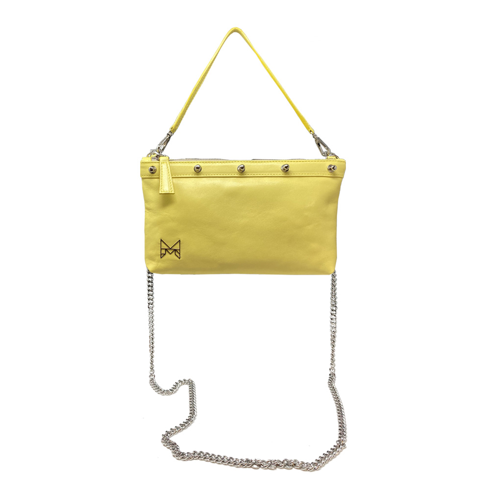 ginger gialla senza piume struzzo con tracolla